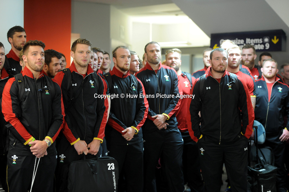 23.06.16 - Wales Rugby Arrival in Dunedin -<br /> The Wales squad sing as the squad arrives in Dunedin.