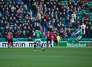 4th November 2017, Easter Road, Edinburgh, Scotland; Scottish Premiership football, Hibernian versus Dundee; Hibernian's Martin Boyle scores for 1-0