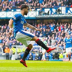 Rangers v Celtic Scottish Premiership 11 March 2018; Daniel Candeias (Rangers, 21) scores during the  Rangers v Celtic Scottish Premiership match played at Ibrox Stadium, Glasgow; <br /> <br /> &copy; Chris McCluskie | SportPix.org.uk