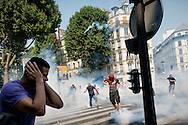 © Benjamin Girette / IP3 PRESS:  July 19, 2014 in Paris. Demonstration, banned by French police, against Israel s military campaign in Gaza. Prostestors clashes with Police for nearly three hours.