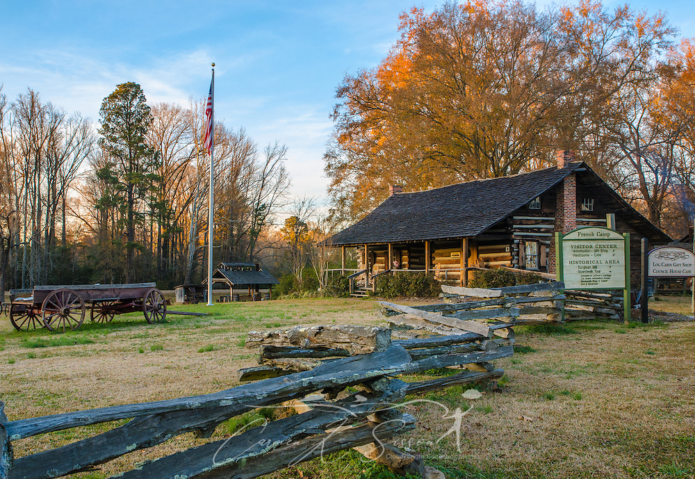 The French Camp Visitor's Center includes the Log Cabin Gift Shop, which sells locally-made products including sorghum molasses and bread made at French Camp. (Photo by Carmen K. Sisson/Cloudybright)