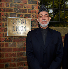 NOV 01 2013 President of Afghanistan Hamid Karzai arrives at the Oxford Union