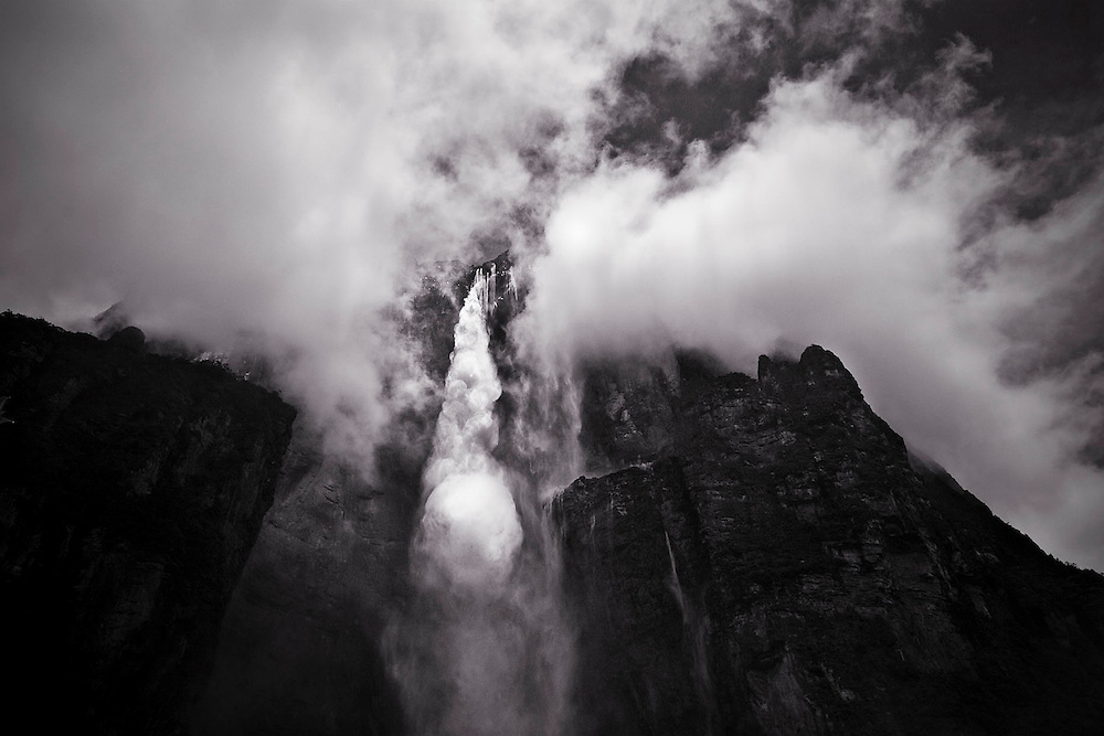 Salto Angel, the highest waterfall in the world, surrounded by clouds, Amazonia, Venezuela