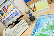 A travel agent's work station