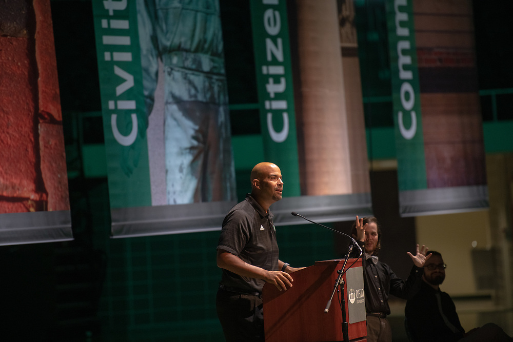 Vice President of Student Affairs Jason Pina speaks at the First Year Student Convocation.