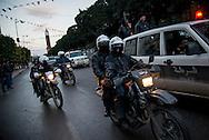 © Benjamin Girette / IP3 PRESS : le 8 Fevrier 2013:  Avenue Habib Bourguiba des policiers sécurisent le centre ville, Tunis.
