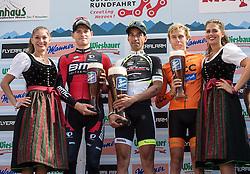 10.07.2015, Kitzbühel, AUT, Österreich Radrundfahrt, 6. Etappe, Lienz auf das Kitzbühler Horn, im Bild v.l. Ben Hermans (BEL, 2. Platz Etappe), Victor Gonzalez de la Parte (ESP, 1 Platz Etappe), Jan Hirt (CZE, 3. Platz Etappe) // f.l.t.r. 2nd placed stage Ben Hermans of Belgium 1st placed stage Victor Gonzalez de la Parte of Spain 3rd placed stage Jan Hirt of Czech Republik during the Tour of Austria, 6th Stage, from Lienz to the Kitzbühler Horn, Kitzbühel, Austria on 2015/07/10. EXPA Pictures © 2015, PhotoCredit: EXPA/ Reinhard Eisenbauer