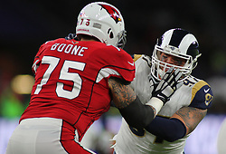 LONDON, ENGLAND - OCTOBER 22: Arizona Cardinals offensive guard Alex Boone (75) and Los Angeles Rams defensive end Morgan Fox (97) during the NFL match between the Arizona Cardinals and the Los Angeles Rams at Twickenham Stadium on October 22, 2017 in London, United Kingdom. (Photo by Mitchell Gunn/ESPA-Images) *** Local Caption ***