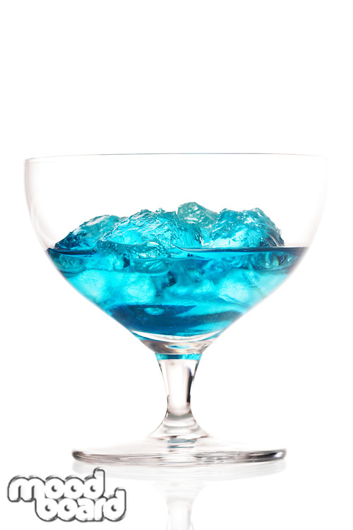 Studio shot of blue cracao drink