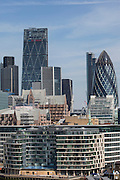 Buildings of a crowded city of Londons skyline including the Gherkin (30 St Mary Axe). Central London, UK. 5th May 2016 (photo by Andrew Aitchison / In pictures via Getty Images)