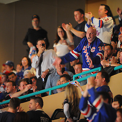 May 16, 2012: New York Rangers super fan Dancing Larry pumps up the crowd during third period action in game 2 of the NHL Eastern Conference Finals between the New Jersey Devils and New York Rangers at Madison Square Garden in New York, N.Y. The Devils defeated the Rangers 3-2.