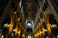 Paris, France. Interior of the Notre Dame de Paris, a Gothic, Catholic cathedral on the Île de la Cité.