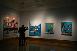 © London News Pictures. 25/09/2017. Hull, UK. Artwork by Hurvin Anderson is filmed he is one of four artists shortlisted for Turner Prize 2017 at the Ferens Gallery in Hull, Britain. The exhibition is open to the public from 26 Sep 2017 to 7 Jan 2018. Picture by NIGEL RODDIS/LNP
