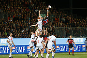 Bilel Taieb of Oyonnax and Felix Lambey of Lyon during the French Championship Top 14 Rugby Union match between US Oyonnax Rugby and Lyon OU on April 28, 2018 at Charles Mathon stadium in Oyonnax, France - Photo Romain Biard / Isports / ProSportsImages / DPPI