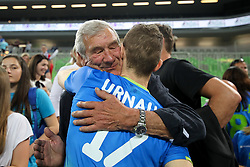 Tine Urnaut of Slovenia with father Adi Urnaut after volleyball match between National teams of Slovenia and Belgium in 2018 FIVB Volleyball Men's World Championship qualification, on May 28, 2017 in Arena Stozice, Ljubljana, Slovenia. Photo by Morgan Kristan / Sportida
