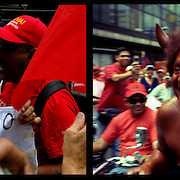 DAILY VENEZUELA II / VENEZUELA COTIDIANA II<br /> Photography by Aaron Sosa <br /> <br /> Left: Mask of Hugo Chavez, Chavez supporters march, Caracas - Venezuela 2008 / Mascara de Hugo Chavez, Marcha de Simpatizantes del Chavismo, Caracas - Venezuela 2008<br /> <br /> Right: The Devil, Chavez supporters march, Caracas - Venezuela 2008 / El Diablo, Marcha de simpatizantes de Chavez, Caracas - Venezuela 2008<br /> <br /> (Copyright © Aaron Sosa)