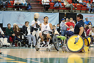 July 7th, 2006: Anchorage, AK - Arron Powlass looks to pass as White defeated Blue in the gold medal game of Quad Rugby at the 26th National Veterans Wheelchair Games.