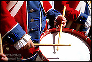 Drumsticks beat rhythm during fife-and-drum corps performance at Lewis & Clark Heritage Days festival; St. Charles, Missouri
