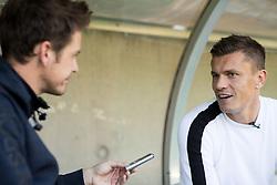 Jaka Lopatic, journalist of Siol Sportal with Zlatko Dedic, Slovenian football player of FC Wacker Innsbruck, on September 27, 2018 in Stadion Tivoli Neu, Innsbruck, Austria.  Photo by Vid Ponikvar / Sportida