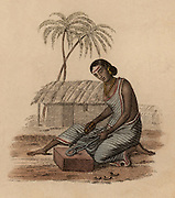 Brazier's wife filing imperfections from a small brass artefact: India. Hand-coloured engraving published Rudolph Ackermann, London, 1822.