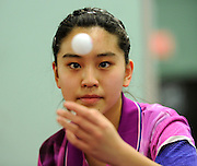3/2/15 4:16:52 PM -- Gaithersburg, MD, U.S.A  -- Crystal Wang, 13, of Boyds, Md. is a recent bronze medalist at the Junior World Championships as part of the USA team, she is the North American Junior Girls champion and was the women's singles runner-up at the USA Nationals in December. According to table tennis pundits, she is the best player of her age outside of China which is saying a lot in this sport. And she is a pretty good bet for the 2016 Olympics.  Photo by H. Darr Beiser, USA TODAY Staff ORG XMIT:  HB 132713 Crystal Wang 3/2/2015 [Via MerlinFTP Drop]