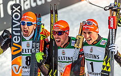 24.02.2017, Lahti, FIN, FIS Weltmeisterschaften Ski Nordisch, Lahti 2017, Nordische Kombination, Flower Zeremonie, im Bild Bronzemedaillen Gewinner Bjoern Kircheisen (GER), Goldmedaillen Gewinner Johannes Rydzek (GER), Silbermedaillen Gewinner Eric Frenzel (GER) // Bronze Medalist Bjoern Kircheisen of Germany Gold Medalist Johannes Rydzek of Germany Silver Medalist Eric Frenzel of Germany celebrate during the Nordic Combined Competition of FIS Nordic Ski World Championships 2017. Lahti, Finland on 2017/02/24. EXPA Pictures © 2017, PhotoCredit: EXPA/ JFK
