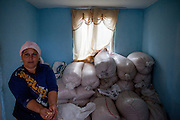 Mother Gabriela Costache (37) showing their deposit of corn stored in the entrance hall of their home.
