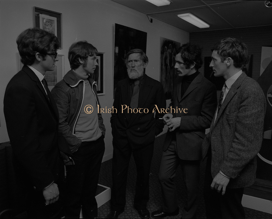 "04/07/1969.07/04/1969.4th July 1969.Sean Keating at an exhibit of a representative selection of the exhibits in the RTE Regional Arts awards from Limerick  shown in the Tintawn showroom in South KIng Street, Dublin..Sean Keating.Sean Keating (1889-1977).Portrait and figure painter, John Keating was born in Limerick on 28th September 1889...Examples: Armagh: County Museum. Ballinasloe, Co. Galway: St Joseph's College. Beijing: Irish Embassy. Belfast: Dublin Institute for Advanced Studies; Passionist Retreat, The Graan. Galway: National University of Ireland. Glasgow: Art Gallery and Museum. Kilkenny: Art Gallery Society. Clongowes Wood College. Oldham, Lancs: Art Gallery and Museum. Rome: Irish College. Sligo: Model and Niland Centre. Tralee, Co. Kerry: St John's Church. Waterford: City Hall, Municipal Art Collection. Electricity Supply Board; Federated Workers' Union of Ireland; Hugh Lane Municipal Gallery of Modern Art; Institution of Engineers of Ireland; McKeeBarracks; Mansion House; National Gallery of Ireland; National Museum of Ireland; Office of Public Works; Pharmaceutical Society of Ireland; University College (Newman House; Earlsfort Terrace). Dundrum, Co. Dublin: Carmelite Fathers, Gort Muire. Enniskillen, Co. Fermanagh: Ulster Museum. Bray, Co. Wicklow: Letterkenny, Co. Donegal: St Eunan's Cathedral. Limerick: City Gallery of Art; County Library; University, National Self-Portrait Collection. Naas, Co. Kildare:  Public Library. Brussels: Mused Modeme. Cork: Collins Barracks; Crawford Municipal Art Gallery. Dublin: Aras an Uachtar~in; Church of Ireland See House, Temple Road, Milltown; Church of St Therese, Mount Merrrion; Church of the Holy Spirit, Ballyroan; Co. Dublin Vocational Education Committee;.Literature: Royal Dublin Society Report of Council, 1""4; The Studio, May 1915, July 1917, September 1923 (also illustration), July 1914, October 1924, November 1951; Seumas O'Brien, The Whale and the Grasshopper, Dublin 1920 (illustration); Dublin Magazine,"
