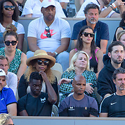 PARIS, FRANCE June 01. Alexis Ohanian, husband of Serena Williams, coach Patrick Mouratoglou and her team watch Serena Williams of the United States during her loss against Sofia Kenin of the United States during the Women's Singles third round match on Court Philippe-Chatrier at the 2019 French Open Tennis Tournament at Roland Garros on June 1st 2019 in Paris, France. (Photo by Tim Clayton/Corbis via Getty Images)