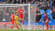 Brighton's Lewis Dunk heads at goal during the Sky Bet Championship match between Brighton and Hove Albion and Nottingham Forest at the American Express Community Stadium, Brighton and Hove, England on 7 February 2015. Photo by Phil Duncan.