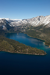 """""""Emerald Bay, Lake Tahoe Aerial 7"""" - Photograph of Emerald Bay in Lake Tahoe, shot from an amphibious seaplane with the door removed."""