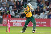 Alex Hales of Nottinghamshire Outlaws driving during the Vitality T20 Blast North Group match between Nottinghamshire County Cricket Club and Worcestershire County Cricket Club at Trent Bridge, West Bridgford, United Kingdon on 18 July 2019.