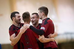 Players of FC Dobovec celebrate during futsal match between FC Litija and FC Dobovec Pivovarna Kozel in Final of 1.SFL 2017/18, on May 18, 2018 in Sports hall Litija, Litija, Slovenia. Photo by Urban Urbanc / Sportida