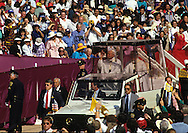 Pope in Popemobile during a visit of Pope John Paul II to the USA in 1987.  Photograph by Dennis Brack...Photograph by Dennis Brack bb 28