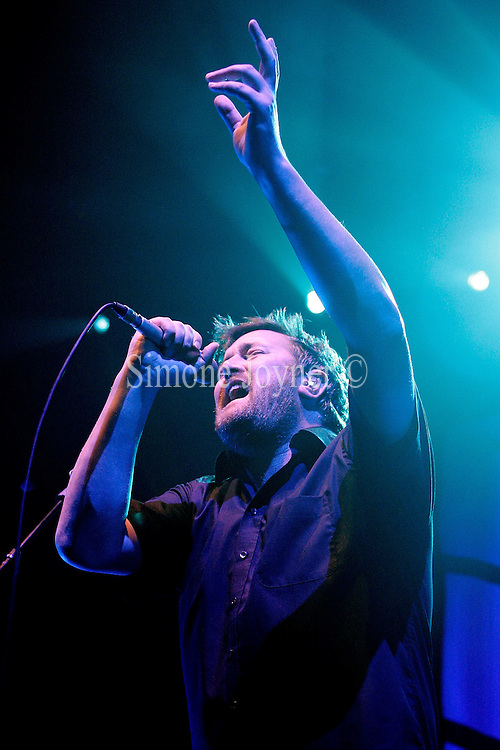 Guy Garvey of Mercury Music prize winning band Elbow perform live on stage at the Roundhouse in Camden Town on October 12, 2008 in London, England.  (Photo by Simone Joyner)