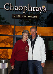 LIVERPOOL, ENGLAND - Thursday, June 20, 2013: Virginia Wade and Anders Jarryd enjoy dinner at Chaophraya Thai restaurant in Liverpool One during Day One at the Liverpool Hope University International Tennis Tournament at Calderstones Park. (Pic by David Rawcliffe/Propaganda)