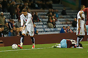 Milton Keynes Dons midfielder, on loan from West Ham United, Diego Poyet protests his innocence during the Sky Bet Championship match between Burnley and Milton Keynes Dons at Turf Moor, Burnley, England on 15 September 2015. Photo by Simon Davies.