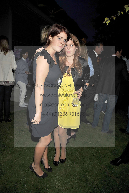 Left to right, PRINCESS EUGENIE OF YORK and PRINCESS BEATRICE OF YORK at The Ralph Lauren Sony Ericsson WTA Tour Pre-Wimbledon Party hosted by Richard Branson at The Roof Gardens, London on June 18, 2009