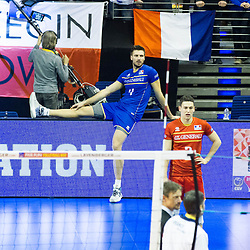 10.01.2016, Max Schmeling Halle, Berlin, GER, CEV Olympia Qualifikation, Frankreich vs Russland, Finale, im Bild Antonin Rouzier (#4, FRA) and Jénia Grebennikov (#2, FRA) // during 2016 CEV Volleyball European Olympic Qualification Final Match between France and Russia at the Max Schmeling Halle in Berlin, Germany on 2016/01/10. EXPA Pictures © 2016, PhotoCredit: EXPA/ Eibner-Pressefoto/ Wuechner<br /> <br /> *****ATTENTION - OUT of GER*****