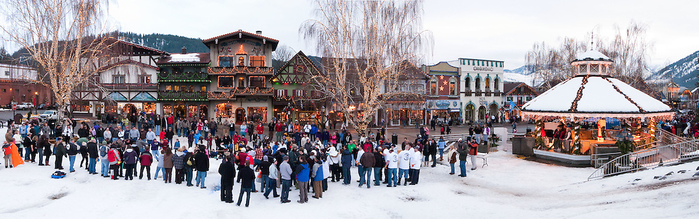Leavenworth Bavarian Ice Fest is held in January in Leavenworth, Washington,USA. The yearly event includes a human tug-of-war, and also the Northwest Dog Sled Pulling Competition, a sanctioned event of the International Weight Pull Association. Panorama stitched from 5 images.