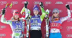 22.01.2011, Tofana, Cortina d Ampezzo, ITA, FIS World Cup Ski Alpin, Lady, Cortina, Abfahrt, im Bild Julia Mancuso (USA, #21, Platz 2), Maria Riesch (GER, #18, Platz 1) und Lindsey Vonn (USA, #22, Platz 3) // Julia Mancuso (USA, place 2), Maria Riesch (GER, place 1) and Lindsey Vonn (USA, place 3) during FIS Ski Worldcup ladies Downhill at pista Tofana in Cortina d Ampezzo, Italy on 22/1/2011. EXPA Pictures © 2011, PhotoCredit: EXPA/ J. Groder