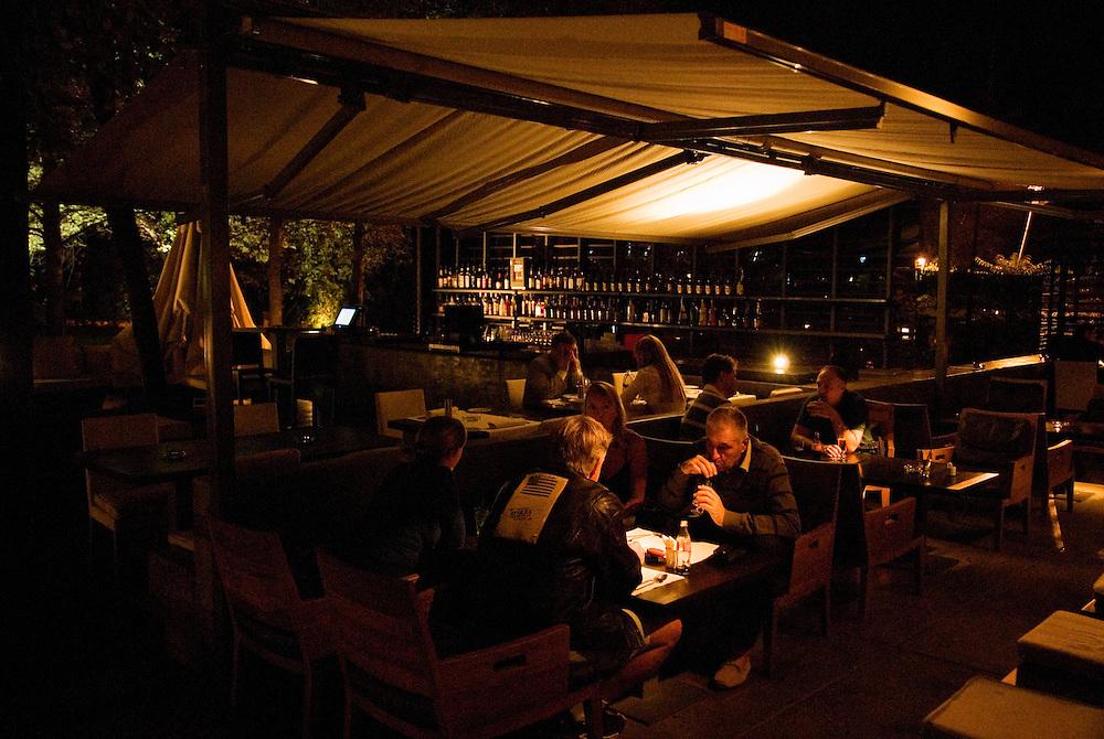 A fancy restaurant and bar in the exclusive Senjak neighborhood of Belgrade.