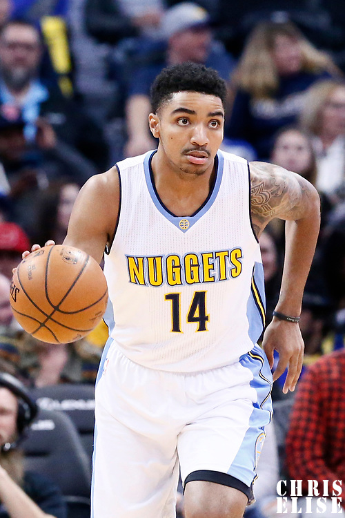 06 March 2017: Denver Nuggets guard Gary Harris (14) brings the ball up court during the Denver Nuggets 108-96 victory over the Sacramento Kings, at the Pepsi Center, Denver, Colorado, USA.