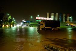 Interspar and streets full of water after heavy rain on September 18, 2010, in Ljubljana, Slovenia. (Photo by Matic Klansek Velej / Sportida)