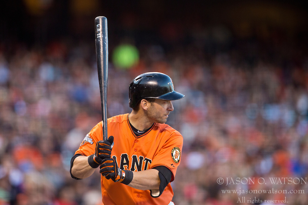 SAN FRANCISCO, CA - MAY 03: Marco Scutaro #19 of the San Francisco Giants at bat against the Los Angeles Dodgers during the first inning at AT&T Park on May 3, 2013 in San Francisco, California. The San Francisco Giants defeated the Los Angeles Dodgers 2-1. (Photo by Jason O. Watson/Getty Images) *** Local Caption *** Marco Scutaro