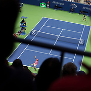 August 29, 2017 - New York, NY : The Spanish tennis player Rafael Nadal, in pink, and Serbian player Dušan Lajović face off in Arthur Ashe Stadium on the second day of the U.S. Open, at the USTA Billie Jean King National Tennis Center in Queens, New York, on Tuesday afternoon. <br /> CREDIT : Karsten Moran for The New York Times