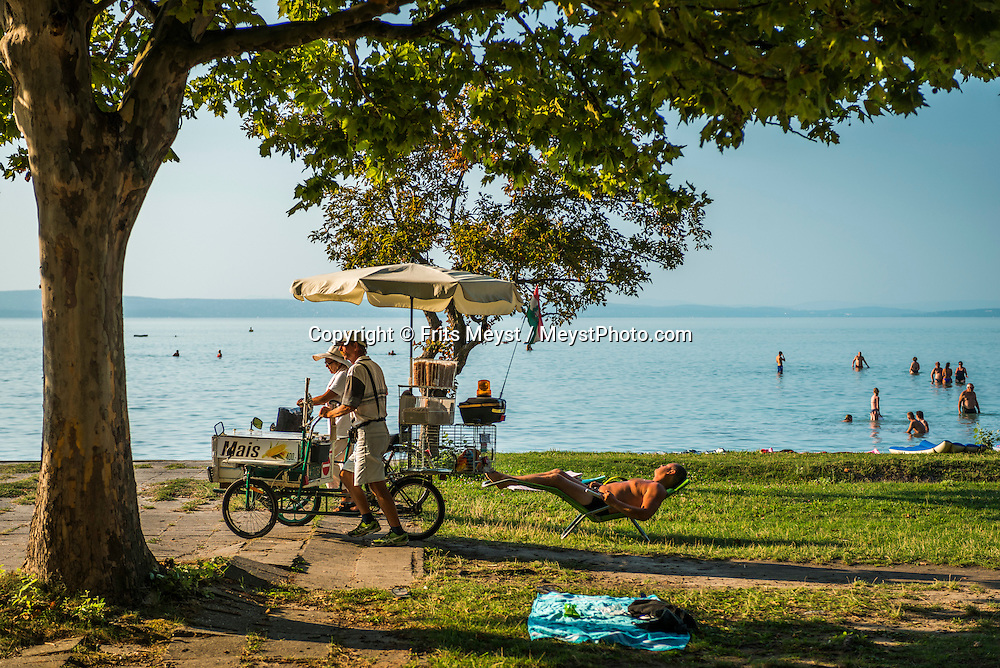 Siofok, Balaton, Hungary, August 2015.  Balaton Tourist Camping Siofok Aranypart Kemping. Lake Balaton is a freshwater lake in the Transdanubian region of Hungary. It is the largest lake in Central Europe and one of the region's foremost tourist destinations. The mountainous region of the northern shore is known both for its historic character and as a major wine region, while the flat southern shore is known for its resort towns. Photo by Frits Meyst / MeystPhoto.com
