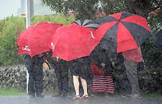 Paihia-Labour and Greens wait in rain outside Te Tii marae