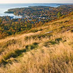 Camden, Maine as seen from Mount Battie in Camden Hills State Park. Fall.