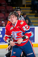 KELOWNA, CANADA - JANUARY 4: Riley McKay #27 of the Spokane Chiefs heads for the dressing room after dropping the gloves with Braydyn Chizen #22 of the Kelowna Rockets on January 4, 2017 at Prospera Place in Kelowna, British Columbia, Canada.  (Photo by Marissa Baecker/Shoot the Breeze)  *** Local Caption ***